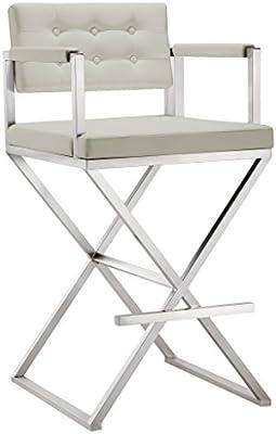 Pleasant Amazon Com Tov Furniture Director Light Grey Steel Barstool Unemploymentrelief Wooden Chair Designs For Living Room Unemploymentrelieforg