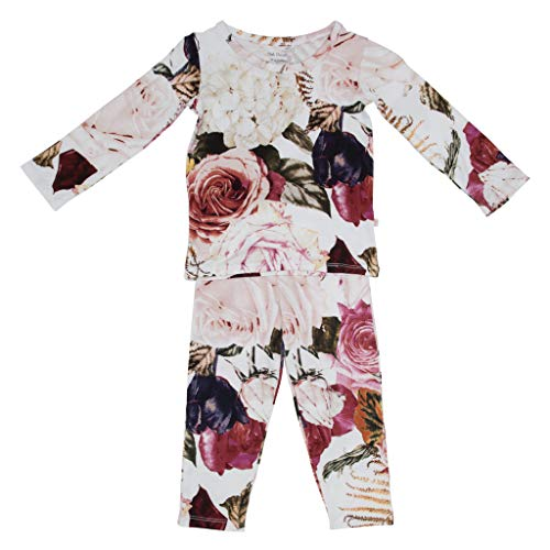 Two Piece Baby Pajamas Set - Loungewear Buttery Soft & Breathable Viscose from Bamboo - Premium Knit Baby Girl Clothes (2T, Black Rose)