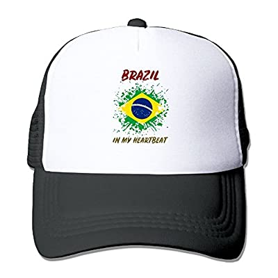 RUN_RUNNING&& Brazil in My Heartbeat Unisex Adjustable Mesh Hunting Cap Hat