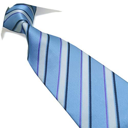 Extra Long Tie Blue/White Striped Men's Woven Handmade ()