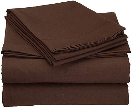 (Kanak Bedding Luxury 600 Thread Count 100% Cotton 4PCS Sheet Set Supreme Collection 15'' Deep Drop 15'' Deep Drop (Chocolate,Twin))