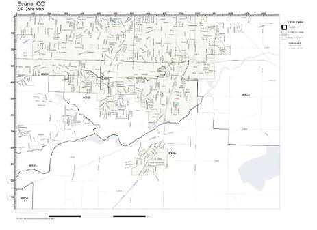 Amazoncom ZIP Code Wall Map Of Evans CO ZIP Code Map Laminated - Colorado zip code map