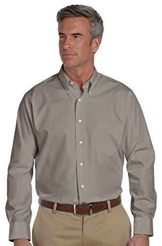 Van Heusen Men's Long-Sleeve Silky Poplin, Slate Grey, -