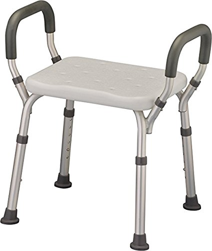Bath Seat Shower Bench with Arms, Adjustable Shower Chair with Arms Padded Handles, without Back, Medical Shower Chair Bench Bath Stool Safety Shower Seat for Elderly, Adults, Disabled, 300 Lbs, White by HEALTHLINE