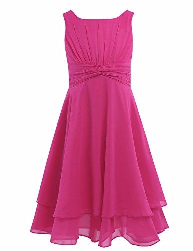 Dress Ruffle Neck Chiffon (FEESHOW Kids Big Girls Sleeveless Double Chiffon Layers Wedding Bridesmaid Party Flower Girl Dress Rose 4)