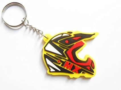 Keychains llavero – Casco – MX – Amarillo – Suzuki color – Motocross – Motorcycle – Motorbike – Car – Key Ring – Rubber Keyring – Puerta llaves – Goma