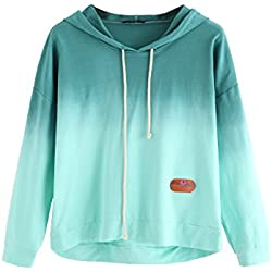 SweatyRocks Women's Long Sleeve Hoodie Sweatshirt Colorblock Tie Dye Print Pullover Shirt Blouse Green Ombre XL