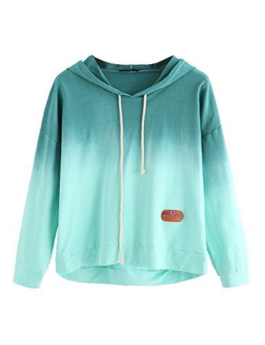SweatyRocks Women's Long Sleeve Hoodie Sweatshirt Colorblock Tie Dye Print Pullover Shirt Blouse Green Ombre XL