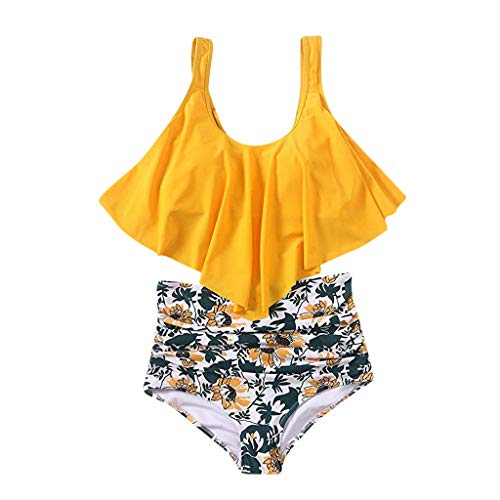 RAISINGTOP Ladies Push-up Padded Bra Sexy Swimwear Two Pieces Bohemia Print Bikini Set Swimsuit xs for Petite Women (Yellow 2, US 0-2)