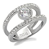 Stainless Steel Clear Round Cut Cubic Zirconia Double Band Ring