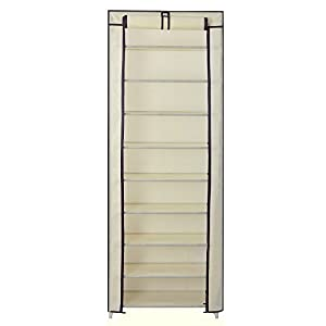 SONGMICS 10 Tiers Shoe Rack Closet with Cover Shoe Storage Organizer