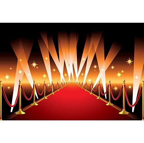 CSFOTO 6x4ft Red Carpet Photography Backdrop for Wedding Party Hollywood Award Ceremony Decor Movie Premiere Decor Filmfest Background Glitter Flashlight Adults Kids Portrait Photo Studio Props