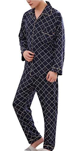 Bathing Cozy Top Men Pezzi Blu Plaid Pants Loungewear Long Modern Pajama Set And 2 Vintage Lounge Scuro Warm Men's vxA6w7qq