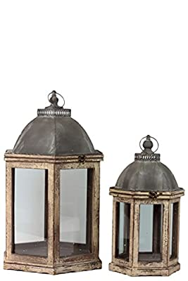 Urban Trends 46026-UT Wood Lantern with Cast Iron Top, Metal Handle, Glass and Sides, Distressed Wood Finish (Set of 2)