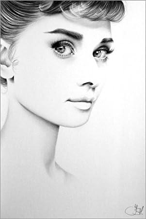 Posterlounge Acrylic print 20 x 30 cm: Audrey Hepburn Minimal Portrait by Ileana Hunter