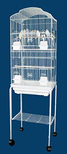 Canary Parakeet Cockatiel Lovebird finch Bird Cages With Stand On Wheels - 18x14x60 6804/SWHT by Mcage ()