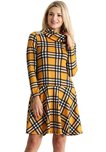 Womens Long Sleeve Winter Cowl Neck Sweater Dress Reg and Plus Size- Made in USA (Size Small US 2-4, Yellow - Black Plaid) ()