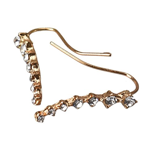 Vovotrade 1Pair Rhinestone Crystal Earrings Ear Hook Stud Jewelry (Gold)