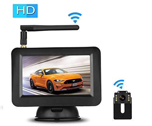 Emmako Wireless Backup Camera System With 4.3'' Monitor For Car/SUV/Minivan, Rear/Front View Camera Adjustable,Guide Lines On/Off,IP69 Waterproof