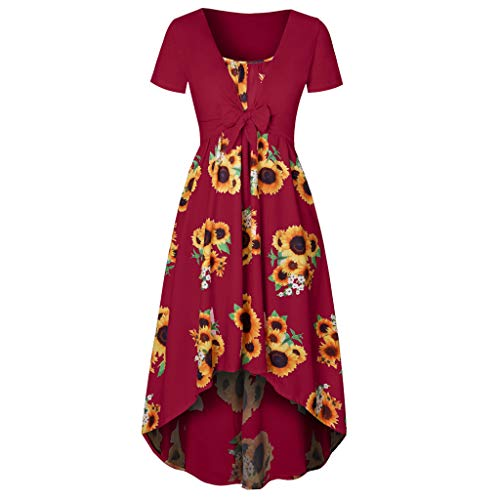 Dresses for Women Casual Summer Short Sleeve Bow Knot Cover Up Tops Sunflower Print Strap Midi Dress Wine