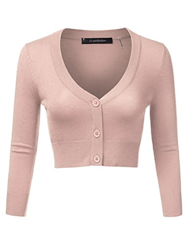JJ Perfection Women's Solid Woven Button Down 3/4 Sleeve Cropped Cardigan Blush L