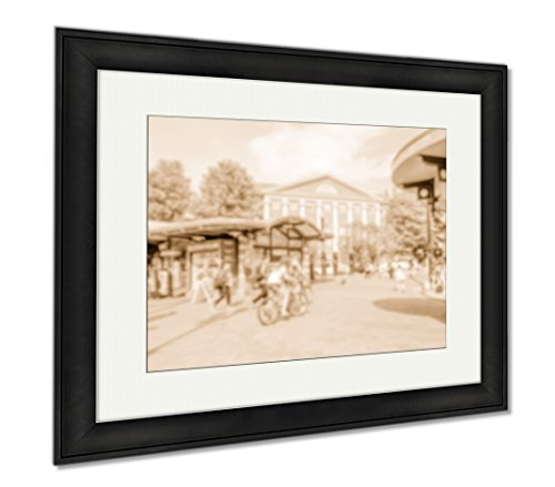 Ashley Framed Prints Defocused Of Harvard Square Cambridge USA, Wall Art Home Decoration, Sepia, 26x30 (frame size), Black Frame, - Ma Cambridge Framing