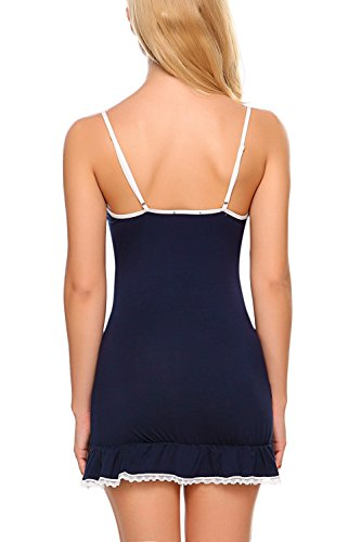 Avidlove - Camisón - cuello en V - Sin mangas - para mujer azul marino