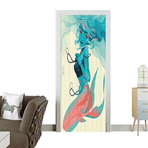 Door Sticker Wall Decals Portrait of Gothic Style Mermaid with Jewelry and Makeup Mythological Easy to Peel and StickW30 x H80 INCH -