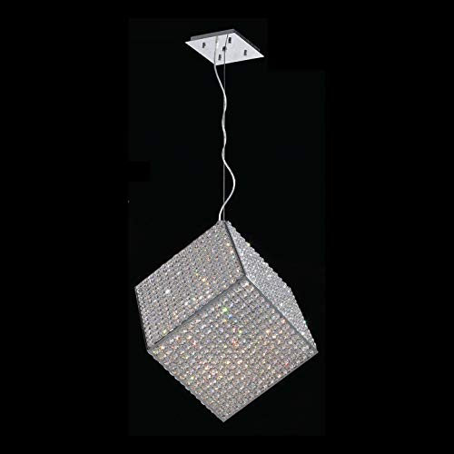 Worldwide Lighting W83932C15-G9 Cube Collection 13 Light with Clear Crystal Pendant, Chrome Finish