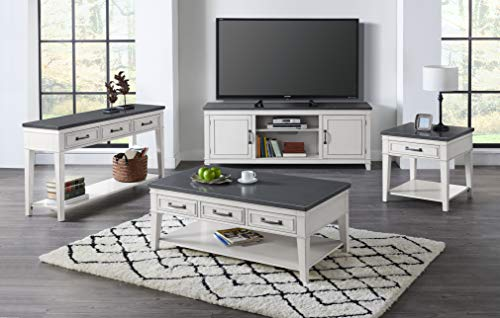 """Martin Svensson Home Del Mar 70"""" Infrared TV Stand with Fireplace, White and Grey"""