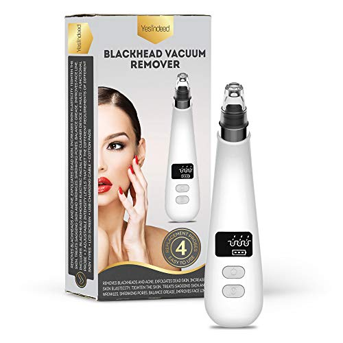 Face Vacuum Blackhead Remover - Rechargeable Acne Treatment Tool - Comedone Extractor Removal Kit with 6 Changeable Heads - Suctions Blackheads, Pimples, Oil, Dirt - Smooths Fine Lines - No batteries