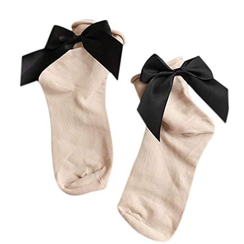 (Women Fashion Socks Harajuku Street Style Cotton Ankle Length Socks With Bow)