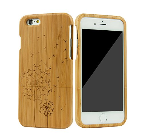 SunSmart Unique Handmade Genuine Natural Wood Wooden Hard bamboo Case Cover for iPhone 6 4.7''(dandelion) - Iphone 6 Wood Case Dandelion