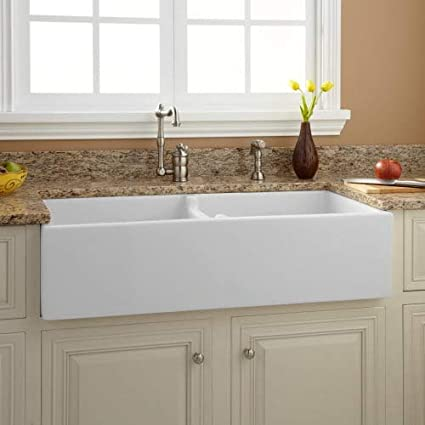 Signature Hardware 394749 Risinger 39u0026quot; Double Basin Fireclay Farmhouse  Sink