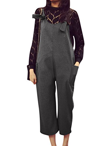 Woman Double Pocket Loose Fit Cropped Suspender Pants Dark Gray XS