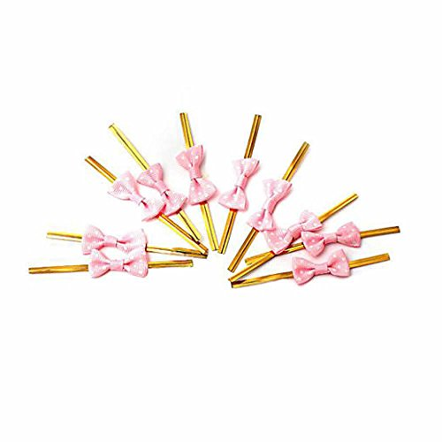 Lollipop Bow - NUOMI Bowknot Metallic Twist Ties Wire for Candy Cookie Cake Bag (pack of 60) (Pink)