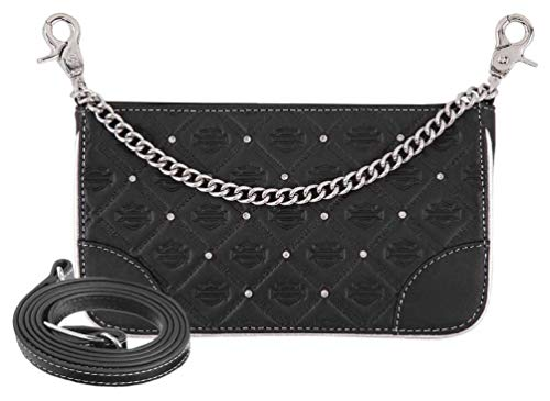 Harley-Davidson Women's B&S Studded Chain Leather Hip Bag w/Strap - Leather Bags Harley Davidson