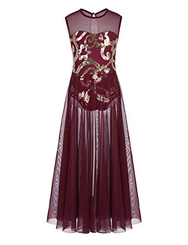 CHICTRY Girl's Lyrical Dress Floral Sequins Leotard with Long Mesh Overlay Skirts Dance Costumes Burgundy 14 -