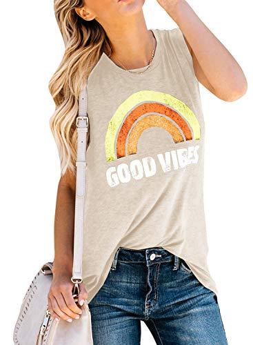 (Imily Bela Womens Summer Graphic Tops Funny Juniors Tank Shirt Good Vibes Street Tees (XX-Large, Z-Khaki))
