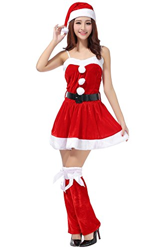 [Womens 4pcs Santa Christmas Costume Flare Dress Cosplay Red] (Nutcracker Costumes For Sale)