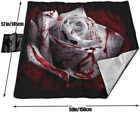 Singledog Coperta da Picnic Bloody Rose Rose Bianche Coperte da Picnic Stuoia da Spiaggia Portatile Impermeabile 145X150 cm