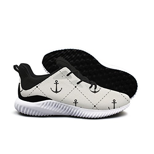 dkkdiehgk Black And White Dotted Line Point Anchor Pattern Women's 2018 Casual Basketball Shoes Formal Black