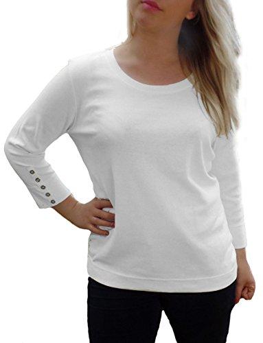 TopsandDresses - Camiseta de manga larga - Manga Larga - para mujer white single pack