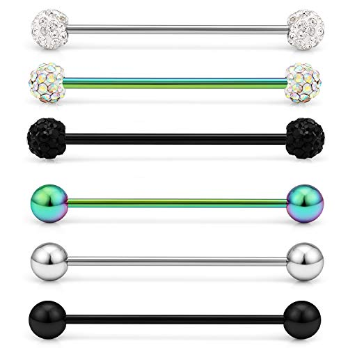Lcolyoli Short Industrial Barbell 16G Stainless Steel Helix Cartilage Earring Externally Threaded Crystal Ball Body Piercing Jewelry for Women Men 1 1/8 Inch(28mm) Rainbow Black Silver 6 Pieces ()