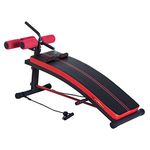 Banc de musculation abdominaux banc réglable en hauteur 140L x 57l x 73H cm rouge noir 43