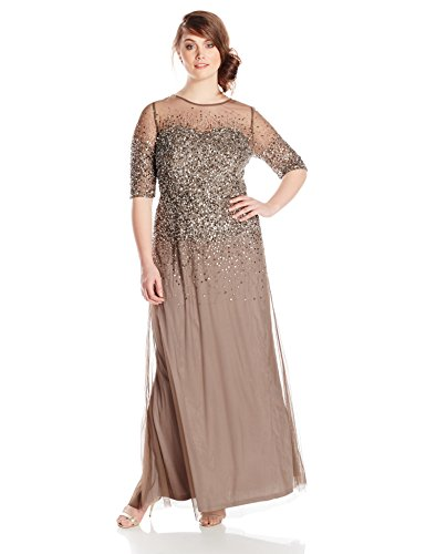 Adrianna Papell Women's Plus-Size 3/4 Sleeve Beaded Illusion Gown with Sweetheart Neckline, Lead, 18W