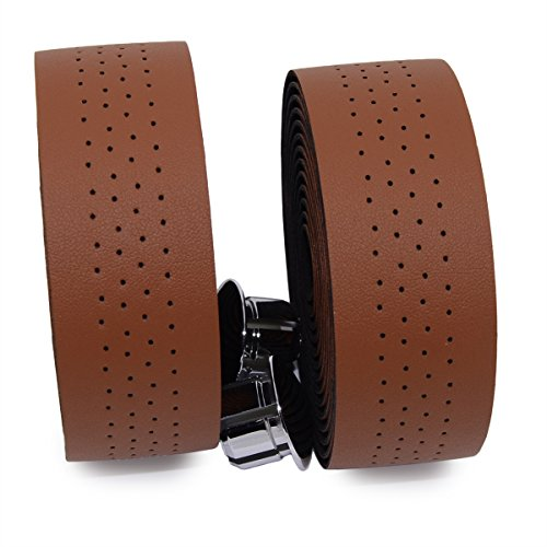 KINGOU Brown Synthetic Leather Road Bike Handlebar Tape Bicycle Bar Tapes - 2PCS Per Set