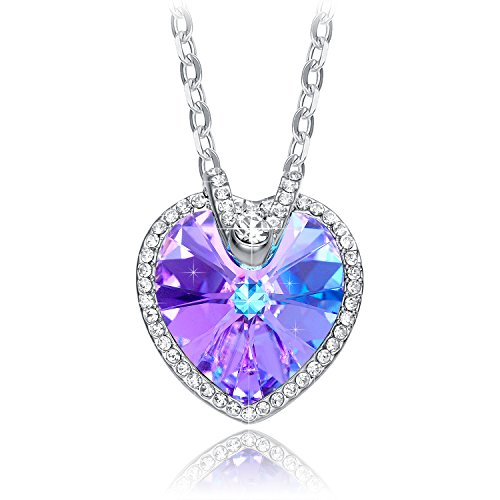 NEEMODA Colorful Purple Austrian Crystal Heart Pendant Necklace Womens White Gold Plated Fashion Jewelry Gift for Her Birthday Anniversary Christmas Valentines Day (Crystal Pendant Austrian Necklace Heart)
