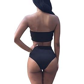 - 41BmcyAXo0L - Pink Queen Women's Removable Strap Wrap Pad Cheeky High Waist Bikini Set Swimsuit