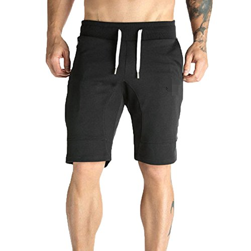 Benficial Men's Casual Shorts, Zipper Pocket Elastic Waist Harem Training Jogger Sport Short Pants Black
